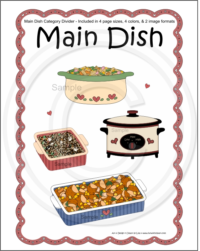 Cookbook Covers Clipart : Cookbook recipe pages